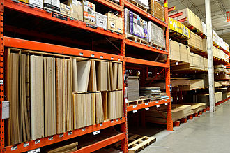 Engineered wood - Engineered wood products in a Home Depot store