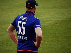 English cricketer Ben Stokes wearing 55 in an One Day International match v  New Zealand d6630f983