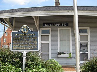 Enterprise, Alabama - Downtown Enterprise's former Alabama Midland Railway depot, now the Depot Museum