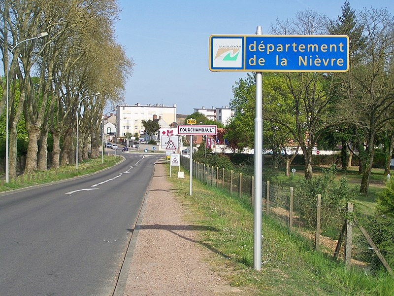 Welcoming road sign to the French department of Nièvre when coming from Cher, in Fourchambault near Nevers.