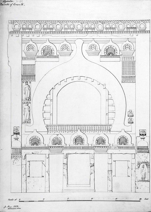 Entrance façade of Ajanta Cave 9, Maharashtra India, 1878 sketch 2