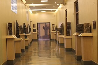 National Museum, New Delhi - The Entrance Corridor of the National Museum housing artefacts on both the sides