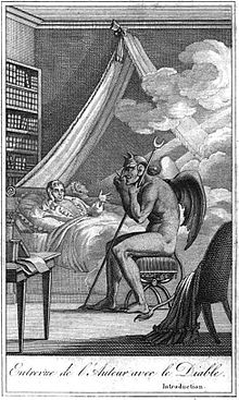 Illustration from Diable peint par lui-même (1825) depicting Collin de Plancy, reclining on his bed, having a discussion with the devil