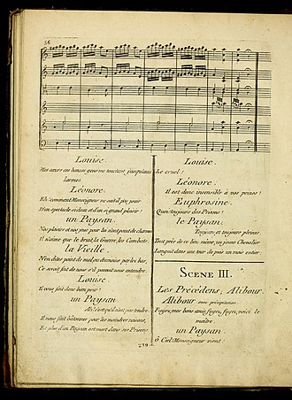 Euphrosine - Page from the original 1790 score, showing the characteristic combination of spoken dialogue and music in French Opéra-comique
