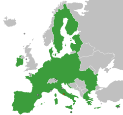 Map indicating locations of European Union and Vatican City