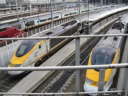 Eurostar trainsets at Paris Nord