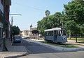 Ex-Brussels tram on display by former train station in Asunción in 2006.jpg