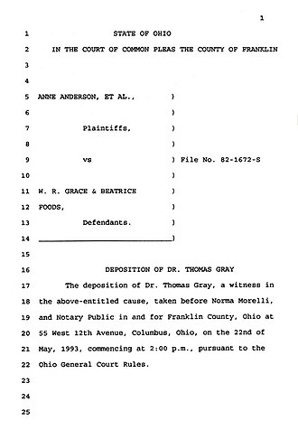Deposition (law) - Example page from stenographers copy of an expert's deposition from Anderson v. Cryovac
