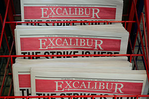 Excalibur (newspaper) - Copies of Excalibur on a newsrack
