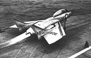 Vought F7U Cutlass - A VF-83 F7U-3 launches from the USS Intrepid in 1954 during catapult testing