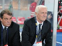 Trapattoni nel 2013, in panchina assieme a Marco Tardelli, come commissario tecnico della Nazionale irlandese.