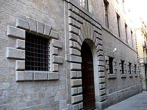 Palau de la Generalitat de Catalunya - Façade on the Carrer Sant Sever by Pere Pau Ferrer.