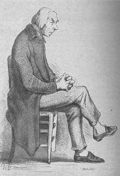 Gravure d'un homme préoccupé vu de profil, il est assis sur une chaise les mains croisées posées sur ses jambes croisées.