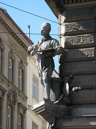 Jerzy Franciszek Kulczycki - Monument to Kulczycki in Vienna, sculpted by Emanuel Pendl and erected in 1885 at the street named after him