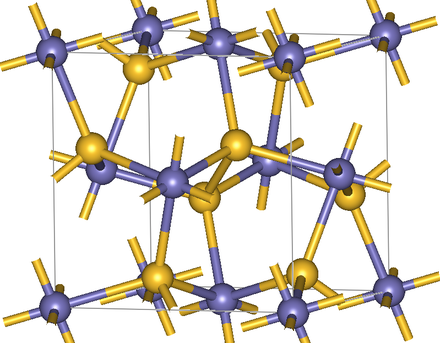 Crystal structure of pyrite. In the center of the cell a S2 pair is seen in yellow FeS2structure.png