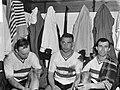Feijenoord tegen Benfica 0-0 In de kleedkamer vlnr Bennaars, Kerkum en Moul, Bestanddeelnr 915-0325.jpg
