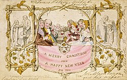 Christmas card wikipedia the worlds first commercially produced christmas card designed by john callcott horsley for henry cole in 1843 reheart Images