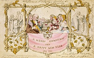 Christmas card - The world's first commercially produced Christmas card, designed by John Callcott Horsley for Henry Cole in 1843