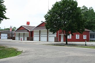 Fisher, Illinois - Fisher Illinois fire station and water tower.