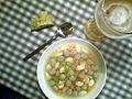 Flickr - cyclonebill - Oksekødsuppe med kød- og melboller med rucolabrød og hvedeøl.jpg
