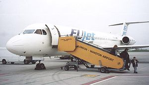 Manston Airport - Fokker 100 of EUjet on arrival from Manchester on 31 March 2005