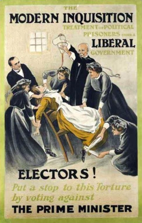 Force-feeding poster (suffragettes)