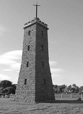 Williamstown, Victoria - The lighthouse (later the time ball tower) was built in 1849–50.