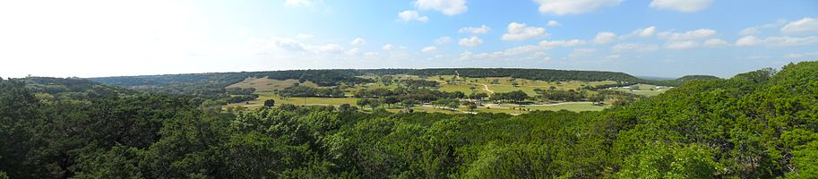 Panorama of Fossil Rim Wildlife Center, taken from The Overlook Cafe balcony.