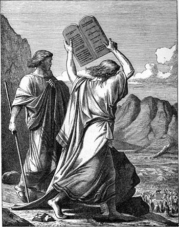 English: MOSES BREAKS THE TABLES OF THE LAW.—E...