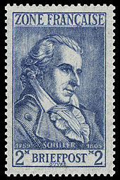 French-occupied German stamp depicting Schiller (Source: Wikimedia)