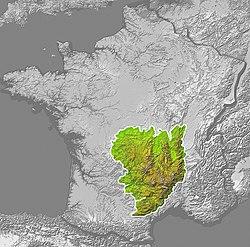 Carte de localisation du Massif central.