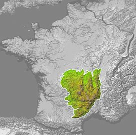 Location of the Massif Central in France