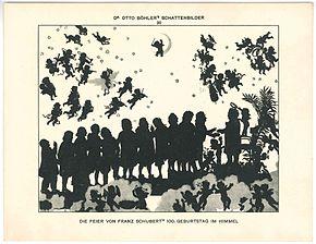 Die Feier von Franz Schuberts 100. Geburtstag im Himmel, Schattenbild von Otto Böhler (Quelle: Wikimedia)