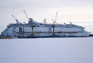 MS Freedom of the Seas - Freedom of the Seas under construction at Turku Shipyard in Turku, Finland on February 23, 2006.