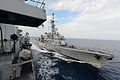French Ship Jean de Vienne Approaching HMS Northumberland MOD 45154603.jpg