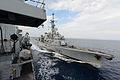 French Ship Jean de Vienne Approaching HMS Northumberland MOD 45154603.jpg