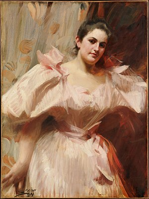 Felix M. Warburg - Portrait of his wife, Frieda Schiff, by Anders Zorn, 1894, at the Metropolitan Museum of Art