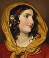 Friedrich von Amerling - Portrait of a girl with a red hairband and a yellow headscarf.jpg
