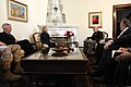 From left, U.S. Ambassador to Afghanistan Ryan Crocker and U.S. Secretary of State Hillary Rodham Clinton meet with Afghan President Hamid Karzai at the Presidential Palace in Kabul, Afghanistan 111020-S-PA947-401.jpg