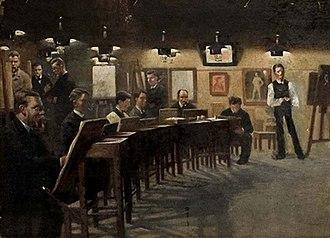 Kunstnernes Frie Studieskoler - From Tuxen's school at Halmtorvet, painting by Johan Rohde, 1883