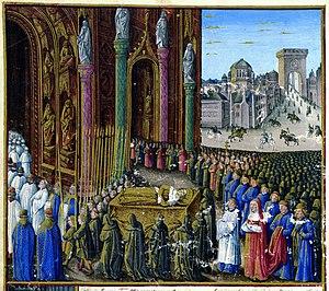 Kingdom of Jerusalem - The funeral of Baldwin I from the book: Les Passages d'outremer faits par les Français contre les Turcs depuis Charlemagne jusqu'en 1462.