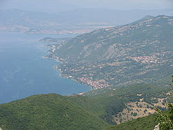 Peštani and surrounding area as seen from Galičica