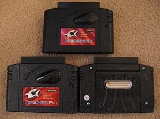 GameShark - GameShark 2.2 (top), Pro 3.0 (left), and Pro 3.3's added SharkLink port (right).