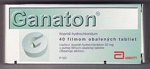 Itopride - A blister package of Ganaton (Itopride) 50 mg tablets intended for distribution in the Slovak Republic.