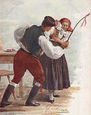 Easter customs - Ritual whipping of girls in Moravia (1910)