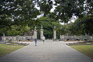 Gates at Royal Botanic Gardens viewed from Art Gallery Road.jpg