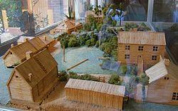 Modell av Gatenhiemska reservatet i Göteborg byggd av tändstickor. 2ed19440c4fb6