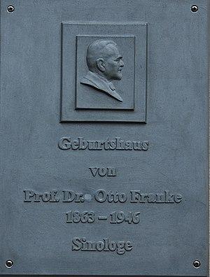 Otto Franke (sinologist) - Commemorative plaque for Otto Franke at his birth house in Gernrode.