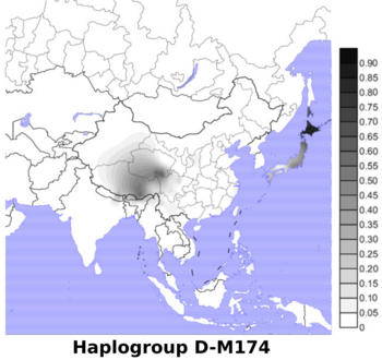 Geographic distributions of Y chromosome haplogroups D-M174 in East Asia.png