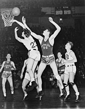 8d3a6a64bf7 Mikan in a game against Long Island University at Madison Square Garden,  1944